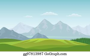 Summer landscape background. Vector