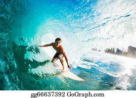 Surfer Gettting Barreled