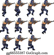 SWAT officer running animation