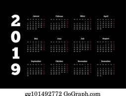 2019 year simple white calendar on german language on black