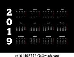 2019 year simple white calendar on german language on black