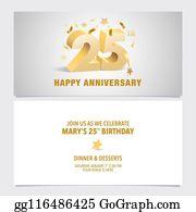 25 Years Anniversary Invitation Card Vector Illustration Template Design