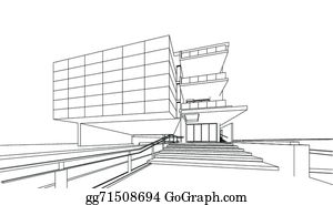 eps illustration 3d render of building wireframe vector clipart