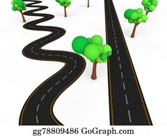 Drawing - 3d zigzag vs straight road  Clipart Drawing