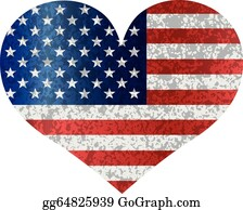 Arthwick Store American Flag Inside a Heart Vector Illustration Pendant Necklace