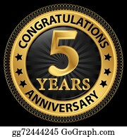 5 years anniversary celebration vector icon, logo. template horizontal  design element with golden glitter stamp for 5th