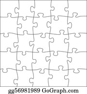 Puzzle Pieces 5x5 Jigsaw Template
