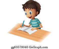 Eps Vector Cartoon Smart Boy Stock Clipart Illustration