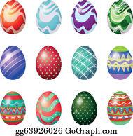 a dozen of painted easter eggs vector art gg63926026