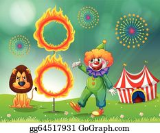 ... circus tent; A lion and a clown with a ring of fire  sc 1 st  GoGraph & EPS Illustration - A circus tent and the ring with fire. Vector ...