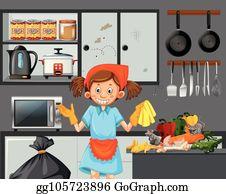 Clipart Kitchen Cleaning - Lizenzfrei - GoGraph