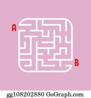 Vector Clipart - Abstract square maze  kids worksheets  game