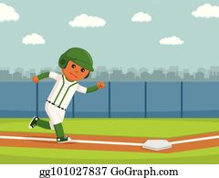 Softball Player Running Clipart