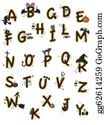 Halloween Font Stock Illustrations - Royalty Free - GoGraph