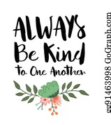 Be Kind Clip Art - Royalty Free - GoGraph