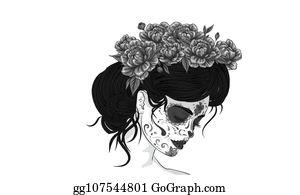 Vector Stock Anta Muerte Woman Make Up Sugar Skull Girl Face With