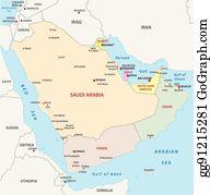 Clip Art Vector - Arabian peninsula political map. Stock EPS ...