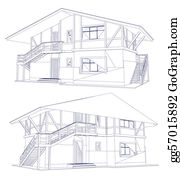 Vector art architecture blueprint of a house vector clipart vector architecture blueprint of a two house vector malvernweather Choice Image