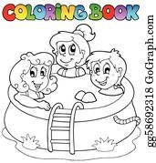 Vektor Clipart Ausmalbilder Mit Kinder Und Segeltuch Vektor Illustration Gg58960408 Gograph