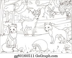 Vektor Clipart Ausmalbilder Zoo Zeichen Mit Tiere Vektor