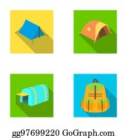 Backpack and other kinds of tents.Tent set collection icons in flat style raster  sc 1 st  GoGraph & Clipart - Various kinds of tents and other tourist accessories ...