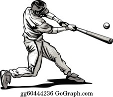 Baseball Batter Hitting Pitch Vecto Eps Vector