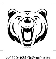 Bear growling. Black clip art royalty