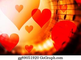 Stock Illustration - Beautiful collage with hearts and music notes