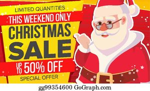 vector stock christmas sale banner with classic santa claus vector