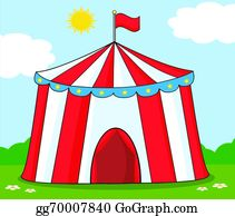 ... Big Circus Tent On Meadow  sc 1 st  GoGraph & Vector Illustration - Funny clown in front of circus tent. EPS ...