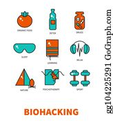 Vector Stock - Biohacking, icon set  Stock Clip Art