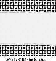 Clip Art Black And White Checkered Frame With Wave Ribbon