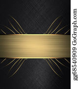 clipart black texture painted with gold ink with gold ribbon