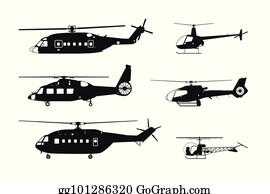 Clip Art Vector - Civil, military and medical helicopters ...