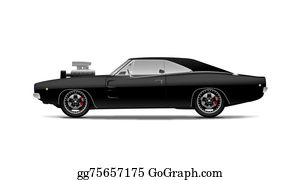 Drawing Black Muscle Car With Supercharger Clipart Drawing
