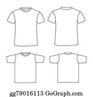 Blank T Shirt Template | Vector Stock Front Back And Side Views Of Blank T Shirt Clipart