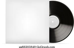 Vector stock realistic vector music gramophone vinyl lp record blank white vinyl cover vector template maxwellsz