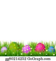 Easter Banner With Egg Border Grass And Eggs Card