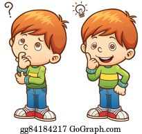 Kid boy class confused. Illustration of a confused little boy thinking to  himself.