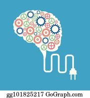 Brain gears. Clip art royalty free