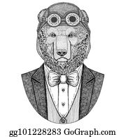bdabf19ac Brown bear Russian bear Animal wearing aviator helmet and jacket with bow  tie Flying club Hand