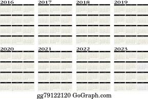 2016 2022 2023 Calendar.Vector Clipart Calendar 2016 To 2023 Vector Illustration Gg79122120 Gograph