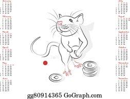 Vector Art - Calendar 2020 the year of the rat  EPS clipart