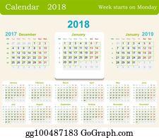 vector art 2018 and 2019 calendar print template portrait