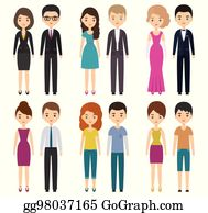 0f17b0a1fa Vector illustration. Cartoon Characters In Different Clothes. Vector  Illustration. See All. × Woman dress code infographic. Cocktail. Female in dressy  blue ...