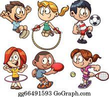 Kids Playing Sports Cartoon Clipart Vector - FriendlyStock