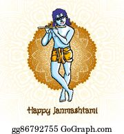 vector clipart little cartoon krishna with a flute greeting card