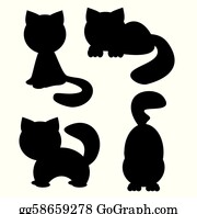 Cat Silhouettes On White