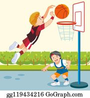 Two Boys Playing Basketball On The Playground Together Vector... Royalty  Free Cliparts, Vectors, And Stock Illustration. Image 126552767.