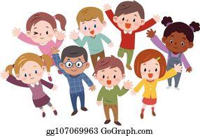 Kids Waving Hello Clipart